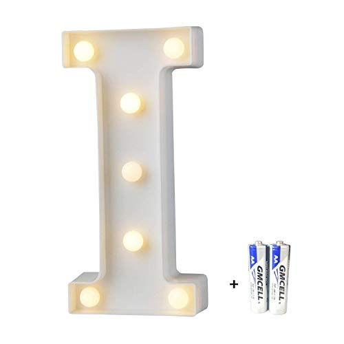 LED Buchstabe Lichter Alphabet, LED Brief Licht, Led dekoration für Geburtstag Party Hochzeit & Urlaub Haus Bar - Buchstabe I