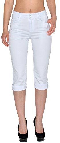 by-tex Damen Capri Hose Damen Caprihose Damen kurze Jeans Hose Capri bis Übergröße - Capri-jeans Weiße