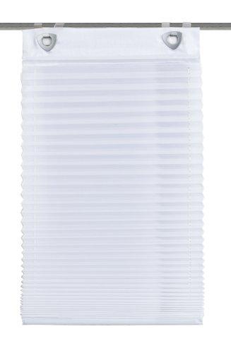 Home Fashion 91041-601 Plisseerollo, mit Haken und Ösen, Uni, Voile, weiß / 140 x 45 cm