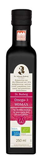 Dr. Budwig Omega-3 Woman - Das Original - Reformprodukt des Jahres 2019 - Ausgleichende Mischung mit wertvollen Pflanzenstoffen aus der Leinsaat, den Lignanen, Nachtkerzen- und Granatapfelkernöl sowie gemahlenen Rotkleeblüten, 250 ml