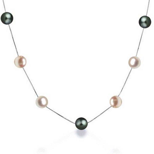 Multi Color Rosa Schwarz Süßwasser-Zuchtperle Tin Cup Sterling Silber Perlenkette 18 Zoll - Tin Cup-halskette