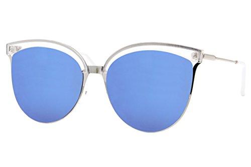 Cheapass Sonnenbrille Cat-Eye Transparent Silber Verspiegelt Designer-Brille Groß XXL UV400 Metall Damen Frauen