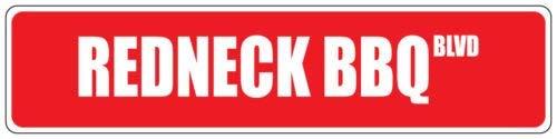 qidushop Redneck BBQ Red Street Sign Aluminium Blechschild Wanddeko Metallschild Post - Lustiges Redneck-humor
