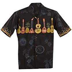 Fabricado en Hawaii Original Hawaii Camisa Aloha Camiseta Tallas M de 7x l Varios diseños, Ukulele Black, Extra-Large