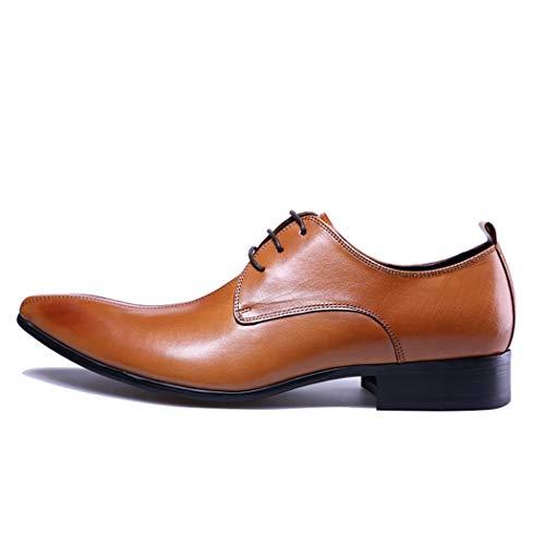 LIXIGB-sHerren Leder Mode Formale Schuhe Frühling Casual Oxford Schuhe Klassischen Stil Junge Kleid Schuhe Schnüren,Braun,40EU (Jungen-brown-leder-kleid-schuhe)