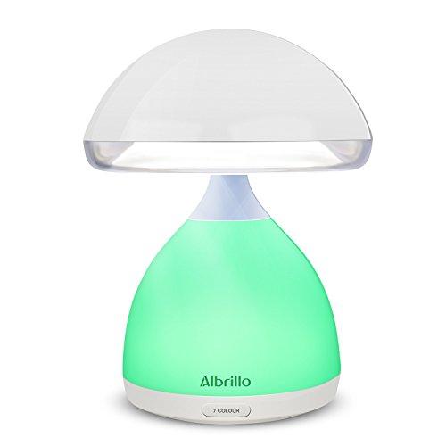 Albrillo kabellose Tischleutchte Touch-Sensor-Nachttischlampe mit Stimmungslicht RGB Farbwechsel, USB Wiederaufladbar