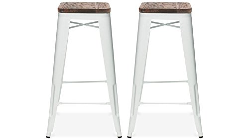 Tabouret de bar design industriel HARLEM (lot de 2) blanc