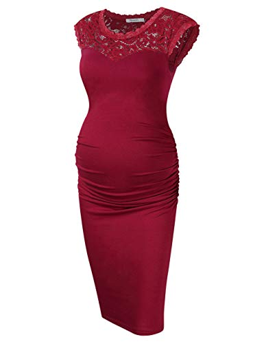 KOJOOIN Damen Umstandskleid Schwangerschafts Kleider Elegent Spitzenkleid Lace Party Ball Umstandskleid