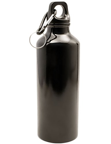 OUTDOOR SAXX® - Wasser-Flasche Trink-Flasche | leichtes Aluminium, mit Öse und Karabiner | geschirrspülfest, 500ml, schwarz (Clip-wasser-flasche)