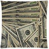 Dollar US Devise Taie d'oreiller, des centaines de billets de 100 dollars-Taie d'Motif Oreiller/coussin pour décoration Housse de coussin carrée avec fermeture Éclair dissimulée - 18 x 18 cm-Double face imprimée