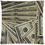 US Dollar Currency Money Pillowcase, Hundreds of 100 Dollar Bills Cushion Case - Throw Pillow Case Decor Cushion Covers Square with Hidden Zipper Closure - 18x18 inches, Twin-sided Print