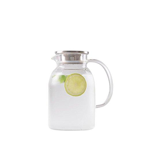 Karaffen,Tropf-Frei Glaskaraffe Hitzebeständig Glas Explosion-proof Hausgebrauch Tee Kühlschrank Karaffe glas Wasserkrug Glaskanne-B