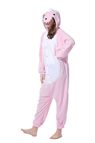 DAN SPEED - Anime Costume Cosplay Combinaison Grenouillères Vêtements de nuit (L(168-178cm), rose dinosaure) (Veste Costume Dessin)