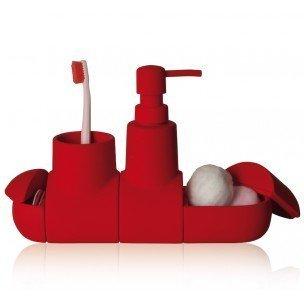 SELETTI Submarino Conjunto de Accesorios de baño, Porcelana, Rojo, 25,5x 7x 17,5cm