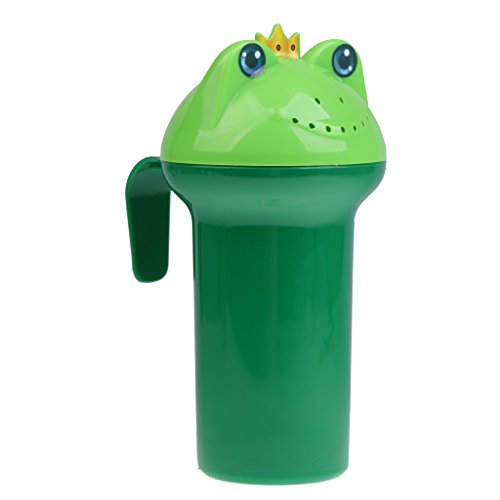 MagiDeal Baby Child Wash Hair Eye Water Scoop Bath Nozzle Shampoo Rinse Cup Frog - green