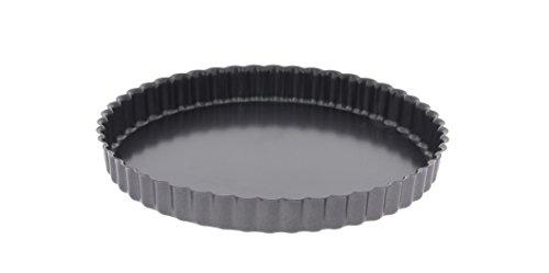 De Buyer 4705.28 Tourtière Cannelée à Bords Droits - Fond Fixe - Acier Revêtu - ht. 3 cm - Ø 28 cm