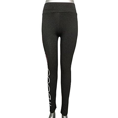 Pantalon Yoga Femme,Manadlian Femmes haute taille Sports gym yoga Running fitness leggings pantalons pantalon athlétique (Gris foncé, M)