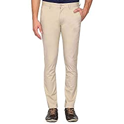 IZOD Mens Slim Fit Casual Trousers (Z4TR0014D_Beige_30W x 34L)