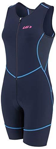 Louis Garneau Tri Comp Damen Triathlon-Anzug, atmungsaktiv, gepolstert, ärmellos, Marineblau/Blau/Pink, Größe L