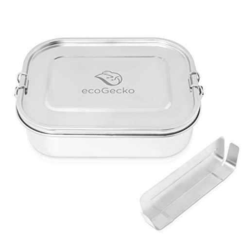 ecoGecko Premium Brotdose aus Edelstahl | auslaufsicher & dicht | Die hochwertige Lunchbox für Kinder und Erwachsene | 1400ml Fassungsvermögen | inkl. GRATIS herausnehmbarer Trennsteg
