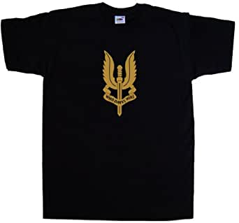 SAS Who Dares Wins Black T-Shirt (Gold print)-Small