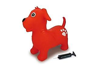 Jamara 460454-Animal saltarín Perro Bomba-Mejora el Equilibrio y Capacidad motora, Orejas como Soporte, Robusto y Resistente, Peso sostenible 50 Kg, Color Rojo (460454)