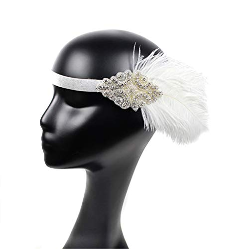 CLOOM 1920er Flapper Great Gatsby Feder Tiara Perlen -