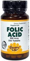 Country Life Folic Acid, 250 Tabs, 800 Mcg from Country Life