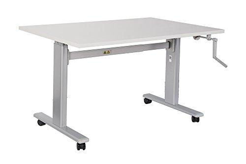 Bürotisch Schreibtisch manuell höhenverstellbar mit grauen Tischgestell Workstation Büromöbel Arbeitstisch Produktionstisch (100 x 80 cm, Weiß)