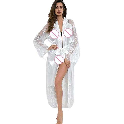 Dessous Sexy Hot Erotic Weiß Frauen Sexys Silk Lace Satin Kimono Robe Bademantel Nachtwäsche Gürtel Pyjamas Babydoll WH (Tom Und Jerry Für Erwachsene Kostüme)