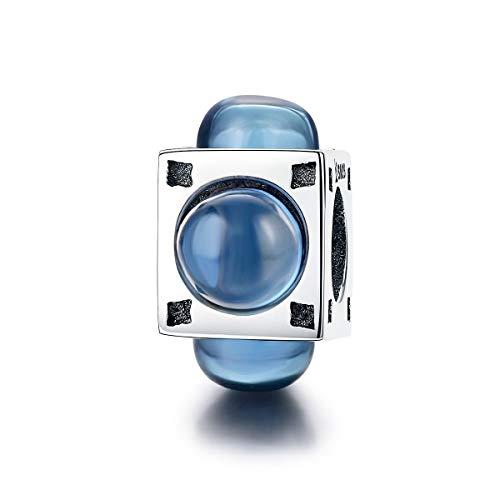 Blu vetro quadrato in argento Sterling 925unica nel suo azzurro vetro Square Beads Fit Original braccialetto con ciondolo in argento fine gioielli