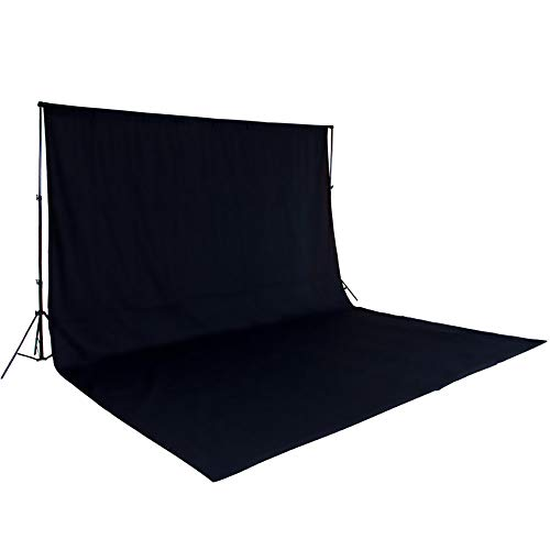 TecTake Teleskop Fotostudio Komplettset Hintergrundsystem inkl. Hintergrund 6x3 m + Tasche - Diverse Farben - (Schwarz   Nr. 400779) (Studio Schwarzem Hintergrund)