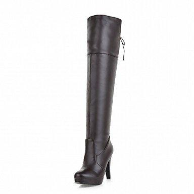 Rtry Femmes Chaussures Pu Similicuir Hiver Confort Nouveauté Bottes De Mode Bottes Bout Rond Sur Des Bottes Au Genou À Lacets Pour Party & Amp; Robe De Soirée Us6.5-7 / Eu37 / Uk4.5-5 / Cn37