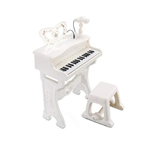 HXGL-Tastatur Kindertastatur Multifunktions Mit Mikrofon Anfänger Kann Klavier Spielen Spielzeug Geschenk 3-6 Jahre Alt (Color : White) (Spielen Sie Klavier Mit Bank)