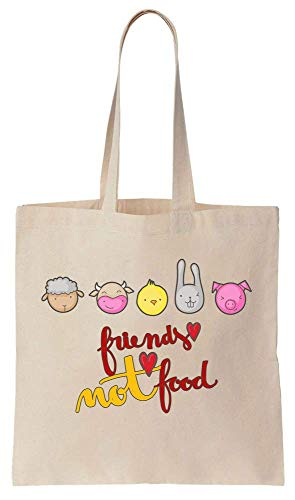 17e984a30f38 Friends Not Food Cute Little Animals Design Cotton Canvas Tote Bag