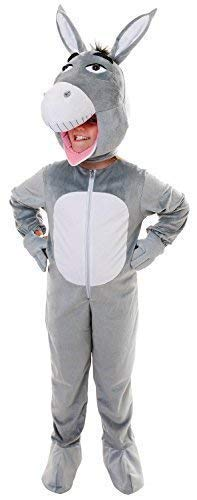 Mädchen Jungen Kinder Grau Esel Nutztier Maskottchen Kostüm -