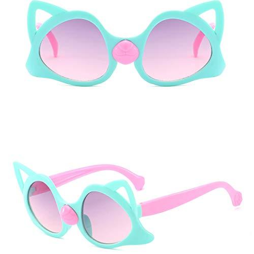 FeiliandaJJ Sonnenbrille Kinder Niedlich Karikatur Katze UV Strahlung Schutz Reise Sonnenbrille Baby Sunglasses (Grün)