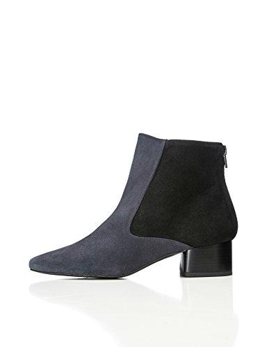 FIND Stiefel Damen Aus Velours- und Strukturiertem Leder mit Reißverschluss An der Ferse, Blau (Blue), 37 EU (Reißverschluss Ferse)