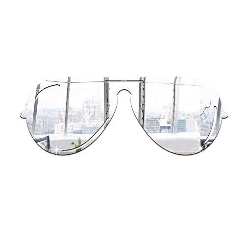 JZHQT Pasta de Pared de acrílico Gafas de Sol Espejo Simple Creativo Sala de Estar Comedor Fondo de la Pared decoración de Pasta, Plateado