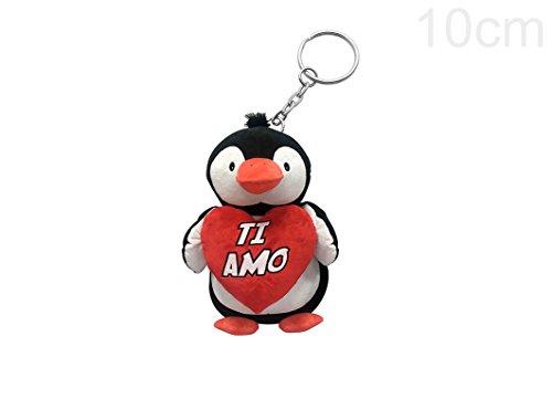 Portachiavi di 10cm a forma di pinguino in morbido peluche che stringe in mano un cuore con scritto ti amo. ideale per san valentino e come regalo romantico per lui e per lei per tutto l'anno.
