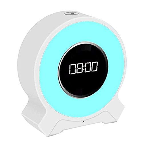 Wecker Kinder, Amouhom LED Nachtlicht mit Bluetooth Lautsprecher und Radio, Einstellbare Farbe Portable Bluetooth 4.2 Freisprecheinrichtung Aufstieg Schlaf Geschenke für Mutter, Kinder, Frauen(Weiß)