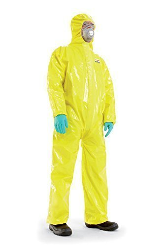 Chemische Kostüm Anzug - Flüssigkeitsdichter Infektions Schutzanzug Gr. XL Honeywell SPACEL mit integrierten Handschuhen und Füsslingen, Kat III Typ 3, 4, 5 und 6 - mit Kennbuchstabe