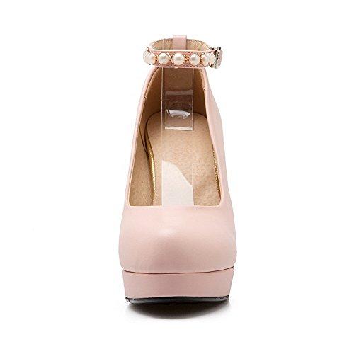 AllhqFashion Damen Schnalle Pu Rund Zehe Hoher Absatz Eingelegt Pumps Schuhe Pink