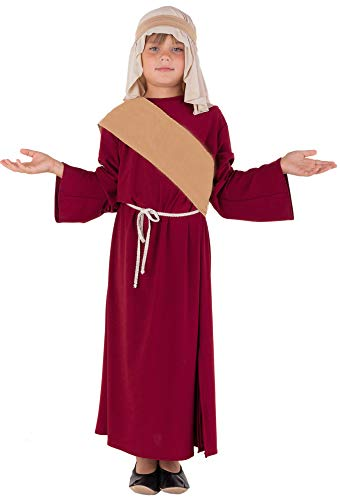 Magicoo Deluxe Josef Kostüm Krippenspiel für Kinder Jungen rot-beige - Hirtenkostüm Kinder - Schäfer Kostüm Kinder