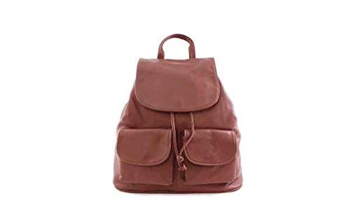DesiDo® Vintage Lederrucksack Rucksack aus Leder mit zwei Vordertaschen Daypack Schulranzen in braun, beige, schwarz (Braun) (Fendi Bag Evening)