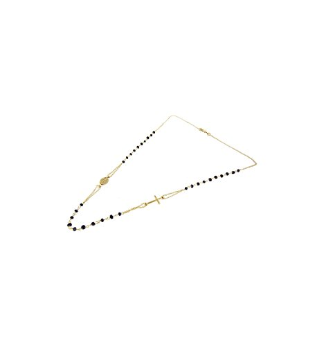 Collana girocollo rosario donna argento 925%bagnato in oro giallo 47cm croce e madonna