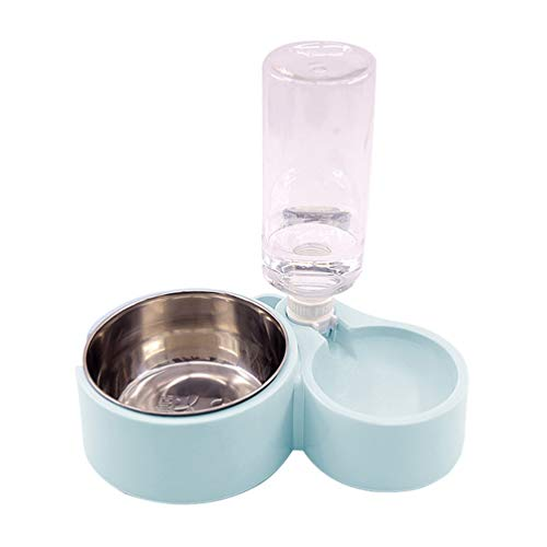 TAOHOU Fuente automática Bebedero Mascota Gato Comedero para Perros Plato Cuenco Comida y Agua Dispensador Agua Azul