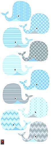 Décoration murale adhésive 24*68 Baleines, Polyvinyle, Bleu, 24 x 0.1 x 68 cm