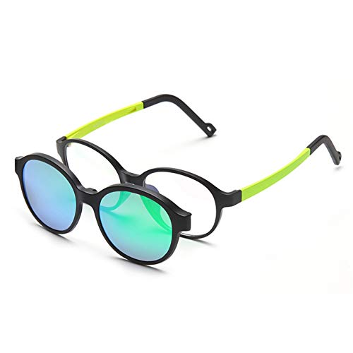 Daawqee Polarized Sunglasses Kids Boys Girls Magnetic Oval Clip On Glasses TR90 Optical Prescription Eyewear Frames Eyeglass D Green