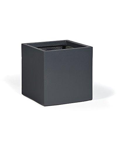 myGardenlust Blumentopf in - Pflanzkübel aus Fiberglas - Blumenkübel für Indoor & Outdoor - Übertöpfe groß und quadratisch - Pflanzgefäße für Balkon & Garten Anthrazit | Cube 34x30